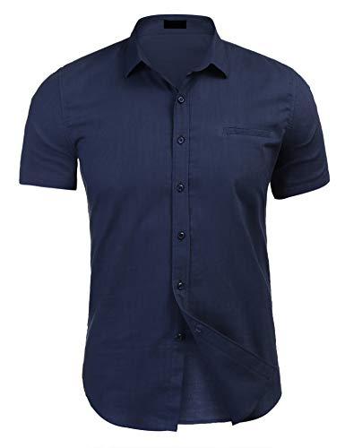 Coofandy Blaus Hemd Herren Leinenhemd Sommer Shirt Kariert Hemd Marine blau m