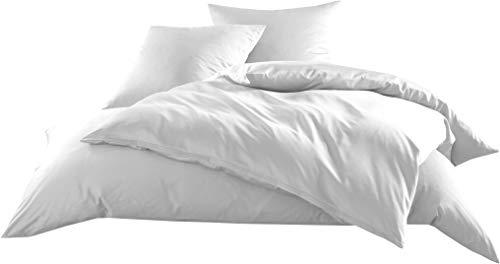 Mako-Satin Baumwollsatin Bettwäsche Uni einfarbig zum Kombinieren (Bettbezug 135 cm x 200 cm, Weiß)