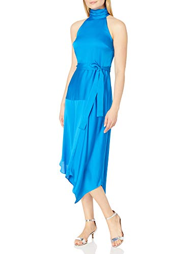 Vince Camuto Women's Mock Halter Neck Hammer Satin Belted Dress, Peacock, 12