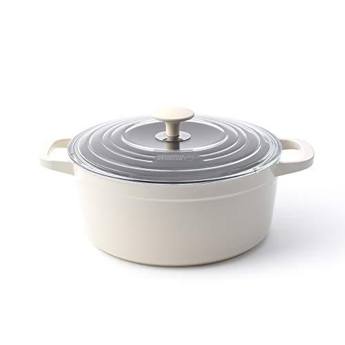 Kitchen Stories CC003209-001 SimmerPro Cocotte 24 cm/4,3 L avec couvercle autonettoyant trempé, céramique saine, antiadhésif, aluminium, ustensile en métal/induction/lave-vaisselle/four, Blanc