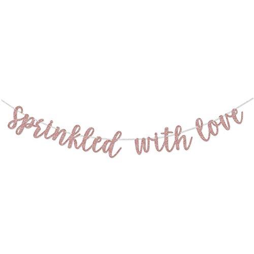 Rose Gold Glitter Sprinkled With Love Gold Glitter Banner Sign Garland Pre-strung for Baby Sprinkle,Baby Shower Decorations