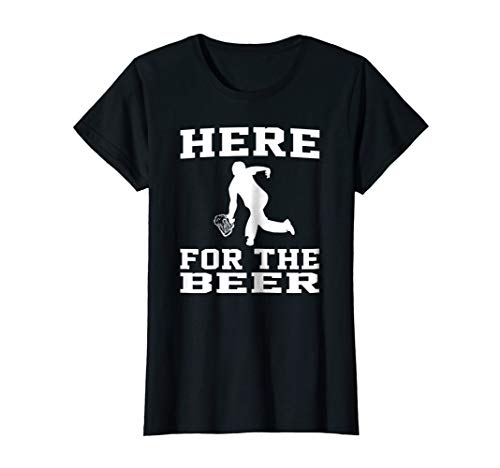 Womens Funny Bowling Drinking Shirt Here For The Beer XL Black