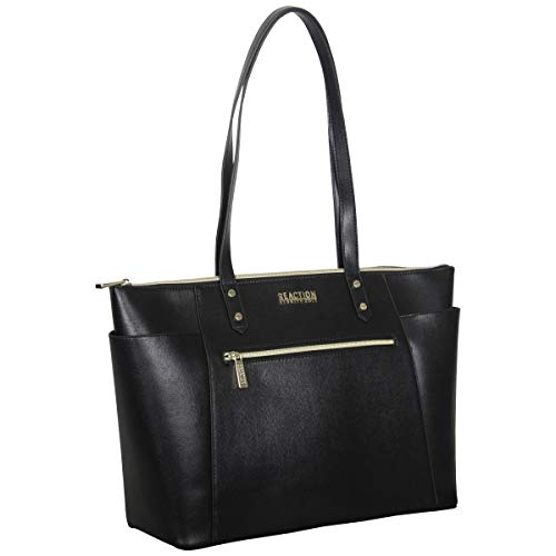 Kenneth Cole Reaction Women's Downtown Darling Faux Leather 15' Top Zip Laptop Tote, Black