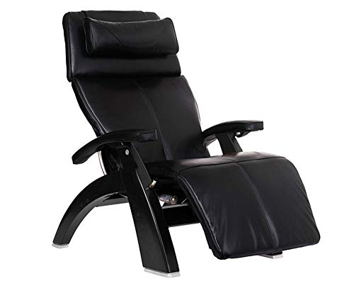 Perfect Chair Human Touch PC-610 Omni-Motion Classic Power Recline Zero Gravity Recliner Performance Upholstery Package Matte Black Wood Stain - Black Premium Leather - in-Home White Glove Delivery