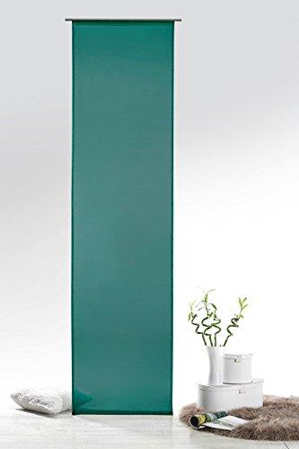 Fashion&Joy - Schiebegardine Voile Petrol HxB 245x60 cm mit Zubehör - transparent einfarbig - Flächenvorhang türkis Schiebevorhang Gardine Typ418
