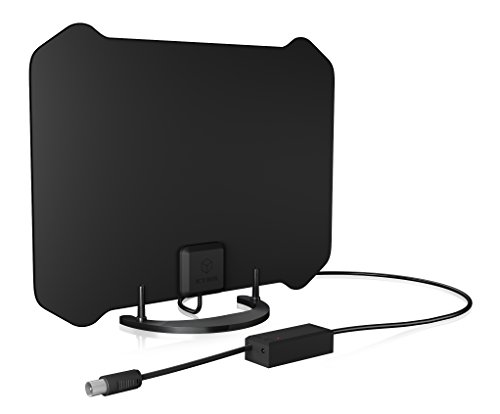ICY BOX IB-AT1006 DVB-T2 HD antenne binnen, TV/radio (DAB+/FM), signaalversterker, storingsbeveiliging, actief/passief, standaard zwart