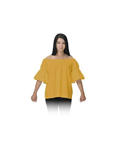 DISBACANAL Camisa de tabernera Medieval - Mostaza, Adulto