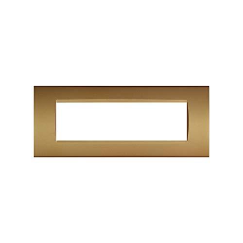 LineteckLED -LNT8007 12- Serie Completa di Placche per Interruttori Prese- Placca 7 Posti Oro Satinato 7M Compatibile living (Oro Satinato)
