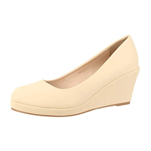Elara Damen Pumps Keilabsatz Schuhe mit Plateau Chunkyrayan B8011 Beige-39