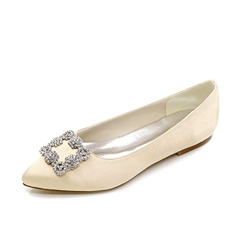 CHARMSTEP Bailarinas Novia para Mujer Satén Puntiagudos Diamantes De Imitación Planos Zapatos De Boda 2046-06,Champagne,36 EU