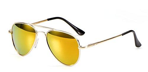 Miuno Gafas de sol infantiles con estructura de metal, gafas de aviador para niños y niñas, con funda 4025k Color dorado con efecto espejo y estructura dorada. talla única