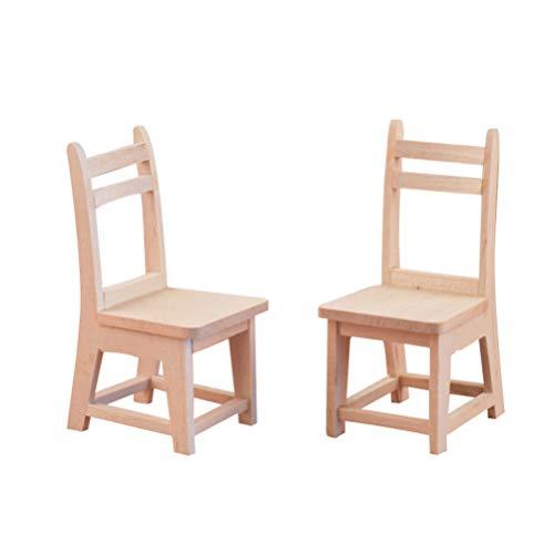 HEALLILY 2 Piezas Mini Muebles de Madera Respaldo de Madera Silla de...