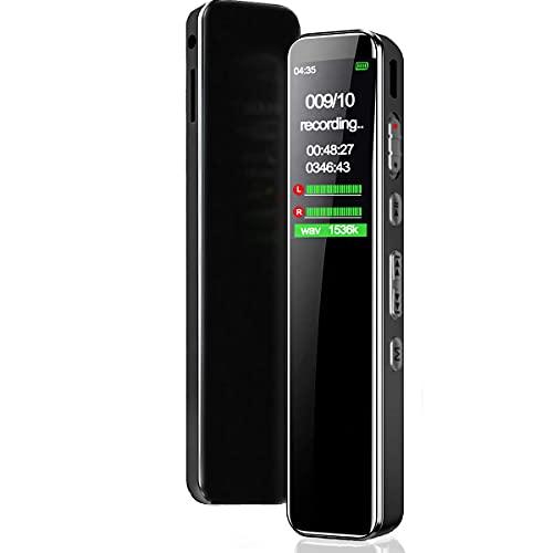 BIGFOX 16GB Grabadora de Voz Digital Portátil,1536kbps,Reducción de Ruido,HD Grabadora Audio Activada por Voz,MP3,Protección de Contraseña Micrófono Incorporado para Reunión, Clase, Entrevistas.