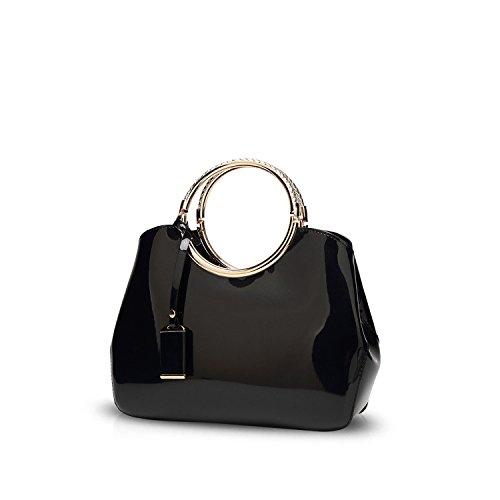 NICOLE&DORIS Damen Handtaschen Umhängetasche Schultertaschen Henkeltaschen Tasche Wasserdicht PU Schwarz