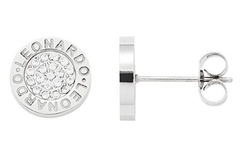 Jewels by Leonardo Damen-Ohrstecker Silber mit silbernen Glasstein I Ohrring klein aus Edelstahl mit Gravur