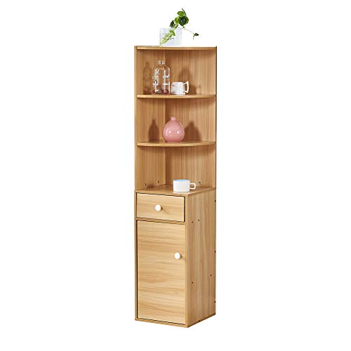 BOJU Corner Wood Bookcase Cabinet with Drawers and 3 Shelves Living Room Unit Storage Display Book Shelves Tall Slimline Bedroom Cupboard Sideboard for Small Dorm Apartment
