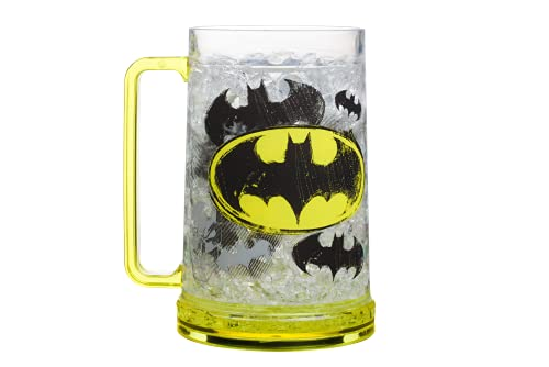 Silver Buffalo DC Comics Batman Logos Gel Plastic Drinking Stein, 16-Ounce Freeze set, 16 Ounce, Yellow