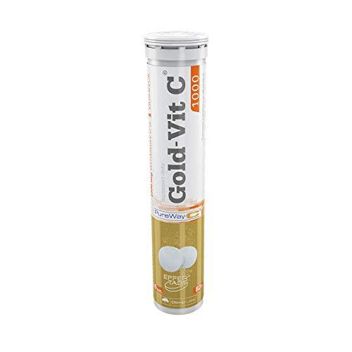 Olimp Gold-Vit C Paquete de 1 x 20 Tabletas Efervescentes Vitamina C 1000mg Pure Way Bioflavonoides Cítricos (Lemon)