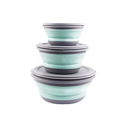 Sumshy Juego de 3 Cuencos Plegables de Silicona con Tapa – Portátiles ampliables – Juego de recipientes herméticos para Pared, Azul Claro