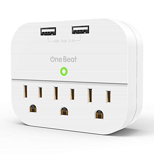 Multi Plug Outlet Extender with USB, Wall Charger with 3 Outlets 2 USB Ports, Multi Wall Outlet Adapter Power Strip for Home Office Travel