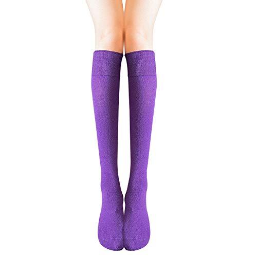 Cosanter Mujer Niñas Calcetines Largos Calcetines hasta la rodilla de algodón Una talla (Morado)