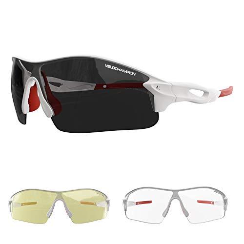 VeloChampion Warp Rahmen Sonnenbrille (mit 3 Linsen) Radfahren, Sport, Radsport-Sport austauschbar, gelb, klar, Linse (Weiß)
