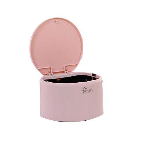 JUNGEN Papeleras de escritorio con Diseño de tapa Pequeño bote de basura de redondo Mini cubo de basura de plástico para Oficina Sala de estudio Cubo de almacenamiento (Rosa)