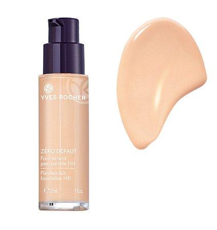 Yves Rocher COULEURS NATURE Make-up-Fluid PERFEKTE HAUT 14h Rosé 050, deckende Foundation, 1 x Glas Pump-Flacon 30 ml