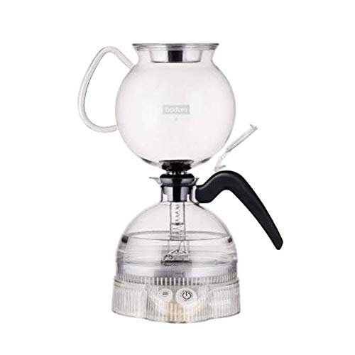 Bodum ePebo Elektrischer Vakuum kaffeebereiter, 8 Tassen, 1.0 l, Kunststoff, Tritan, Edelstahl, Borosilicatglas, Gummi, Silikon, Transparent, 15.5 x 15.5 x 28.3 cm