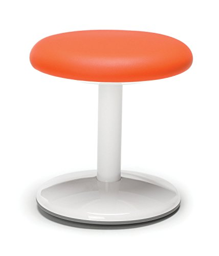 "OFM Orbit Active Adjustable Stool - 14"" Tall Vinyl Backless Stool, Orange"