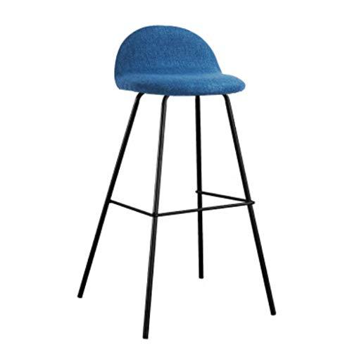 Chair Table de bar minimaliste moderne et chaises maison café créatif nordique tabouret haute tour chaise en fer forgé rouge sept couleurs en option A+ (Couleur : Bleu, taille : 75cm)