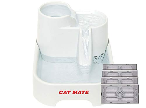 Cat Mate - 70 Fluid Oz Multi-Height Pet Fountain with Isolated Pump System and 4-Pack of Genuine Cat Mate 3-Stage Polymer-Carbon Filters w/ Ion Exchange Resin