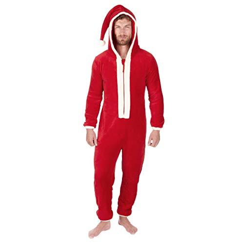KPILP Herren Damen Jumpsuit Overall Weihnachten Pyjamas Weihnachtsmann Kostüme Unisex Cosplay Schlafanzug Spielanzug mit Kapuze Rot
