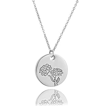 Minimalist Birth Flower Necklace for Women 18k Gold Plated Double Side Engraved Floral Jewelry Coin Birth Month Pendant Necklaces Mom Girl Birthday Gift  10-Oct-Marigold-Silver