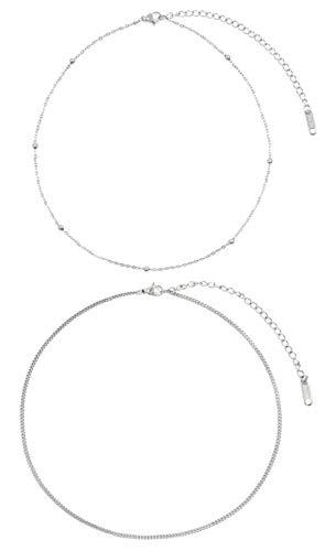 Happiness Boutique Damen Choker Set in Silberfarbe | 2 Minimalist Ketten im Zarten Design Feiner Schmuck aus Edelstahl