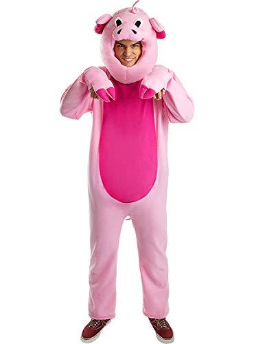 Funidelia | Disfraz de Cerdo para Hombre Talla S ▶ Animales - Color: Rosa - Divertidos Disfraces y complementos para Carnaval y Halloween