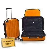 """Trolley-Koffer-Set 3-tlg. *4 Rollen*Dehnfalte*Farbe: Orange* \""""Hauptstadtkoffer\"""""""