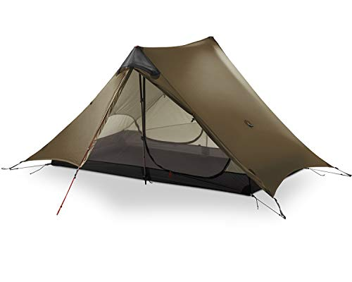 MIER Ultralight Tent 3-Season Backpacking Tent for 1-Person or 2-Person Camping, Trekking, Kayaking, Climbing, Hiking (Trekking Pole is NOT Included), Khaki, 2-Person