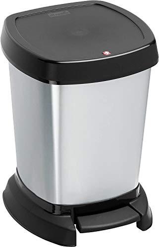 Rotho Paso Mülleimer 6l für das Bad mit Deckel, Kunststoff (PP) BPA-frei, silber metallic, 6l (23,4 x 21,9 x 29,2 cm)