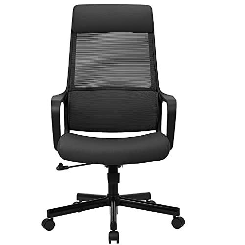 MELOKEA Bürostuhl Ergonomischer Schreibtischstuhl mit Verstellbarer Kopfstütze Netz hoher Rückenlehne und Höhenverstellbar Belastbar bis 150KG Chefsessel hat Lordosenstütze und Wippfunktion-Schwarz