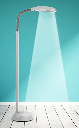 Kenley Stehlampe Leselampe - Energiesparend 27W Tageslichtlampe - Modern Deckenfluter Standleuchte Standlampe Stehleuchte für Schlafzimmer oder Wohnzimmer - Flexibler Hals - Weiß Tageslicht