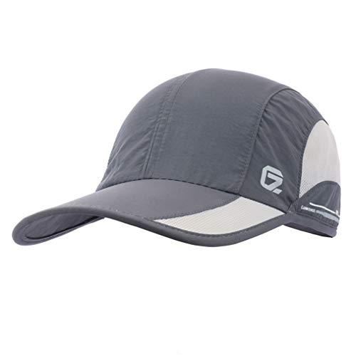 GADIEMKENSD Quick Dry Sports Hat Lightweight Breathable Soft Outdoor Run Cap (Classic up, DimGray)