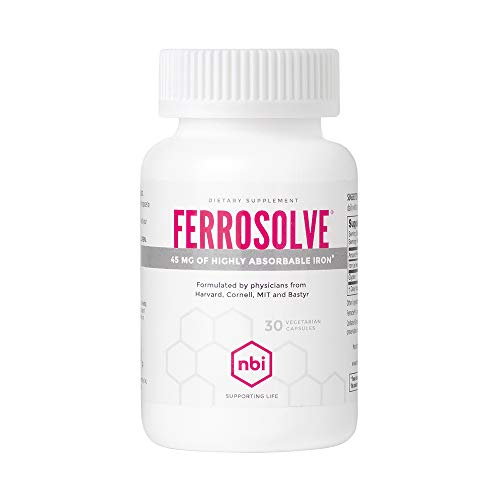 NBI FerroSolve, Iron Supplement 45mg   Highly Absorbable Chelated Iron from Ferrous Sulfate   30ct Veggie Capsules