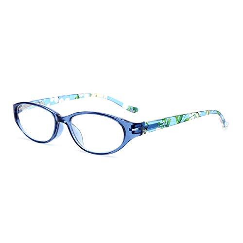 LGQ Nuevas Gafas de Lectura de Ojo de Gato de Moda portátiles, Lente de PC HD, Marco de Material de PC, Gafas de visión correctas antifatiga Dioptrías de 1,00 a 3,00,Azul,+3.00