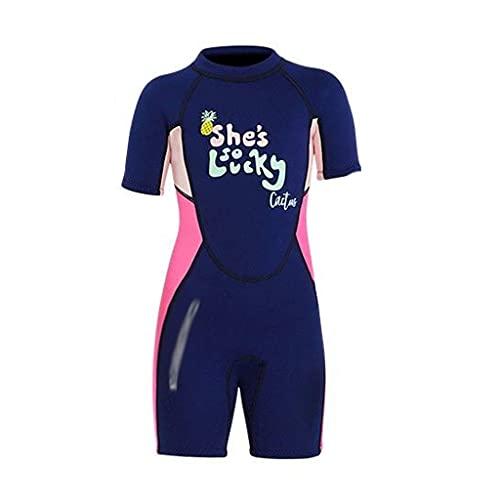 NUBAOgykongtiao Traje de baño para niños, traje de buceo Lucky Girl 2.5 mm Neopreno Neopreno para Surfing Medusas Traje de baño corto para niñas y niños (talla XL: M)