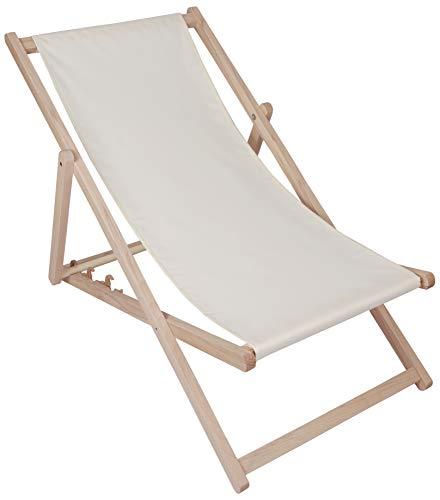 Kubi Sport - Sedia a sdraio da giardino pieghevole in legno di faggio, grigio chiaro