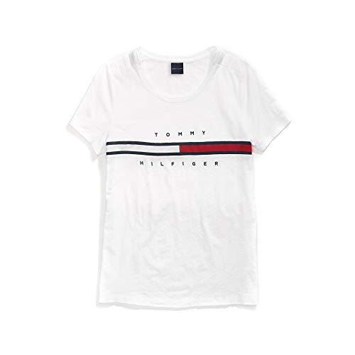 Tommy Hilfiger Damen with Magnetic Buttons Signature Stripe Tee T-Shirt, Bright White, X-Klein