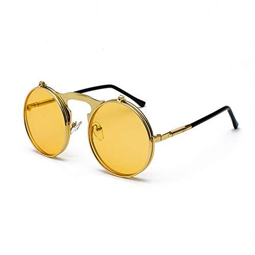 UKKD Gafas De Sol Mujeres Vintage Steampunk Flip Gafas De Sol Retro Redondo Metal Marco Gafas De Sol para Hombres Mujeres Círculo Gafas-C12Goldyellow