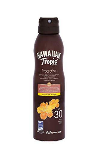 HAWAIIAN Tropic Protective Bruma Aceite Seco Spf 30 - Aceite Bronceador en Spray, Coco y Mango,...