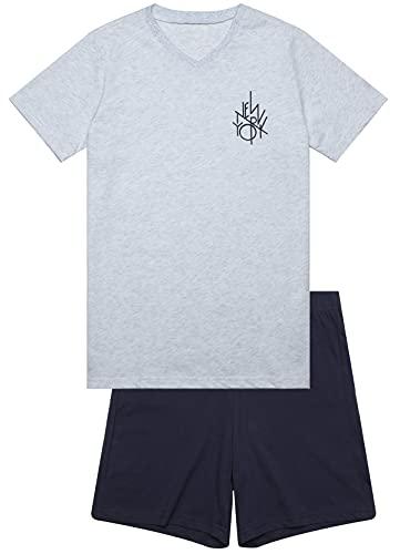 In One Clothing Jungen Schlafanzug kurz New York (Graumelange, 164)